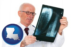 louisiana map icon and a radiologist looking at an x-ray image
