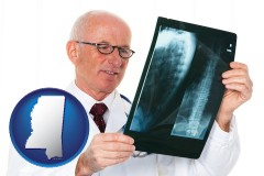mississippi a radiologist looking at an x-ray image