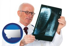 montana map icon and a radiologist looking at an x-ray image