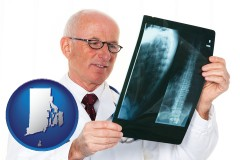 rhode-island map icon and a radiologist looking at an x-ray image