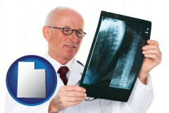 utah map icon and a radiologist looking at an x-ray image