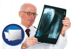 washington a radiologist looking at an x-ray image