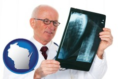 wisconsin map icon and a radiologist looking at an x-ray image