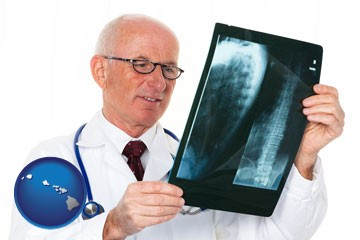 a radiologist looking at an x-ray image - with Hawaii icon