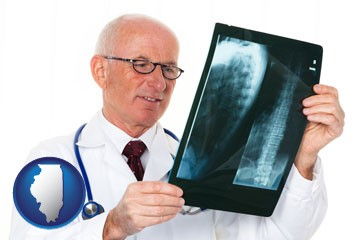 a radiologist looking at an x-ray image - with Illinois icon