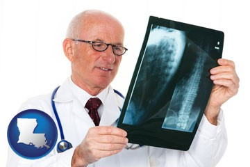 a radiologist looking at an x-ray image - with Louisiana icon