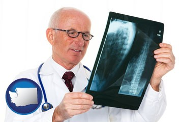 a radiologist looking at an x-ray image - with Washington icon