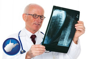 a radiologist looking at an x-ray image - with West Virginia icon